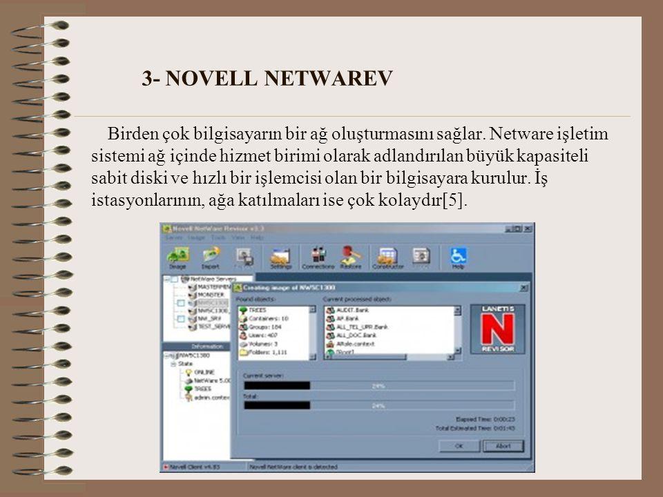 3- NOVELL NETWAREV Birden çok bilgisayarın bir ağ oluşturmasını sağlar.