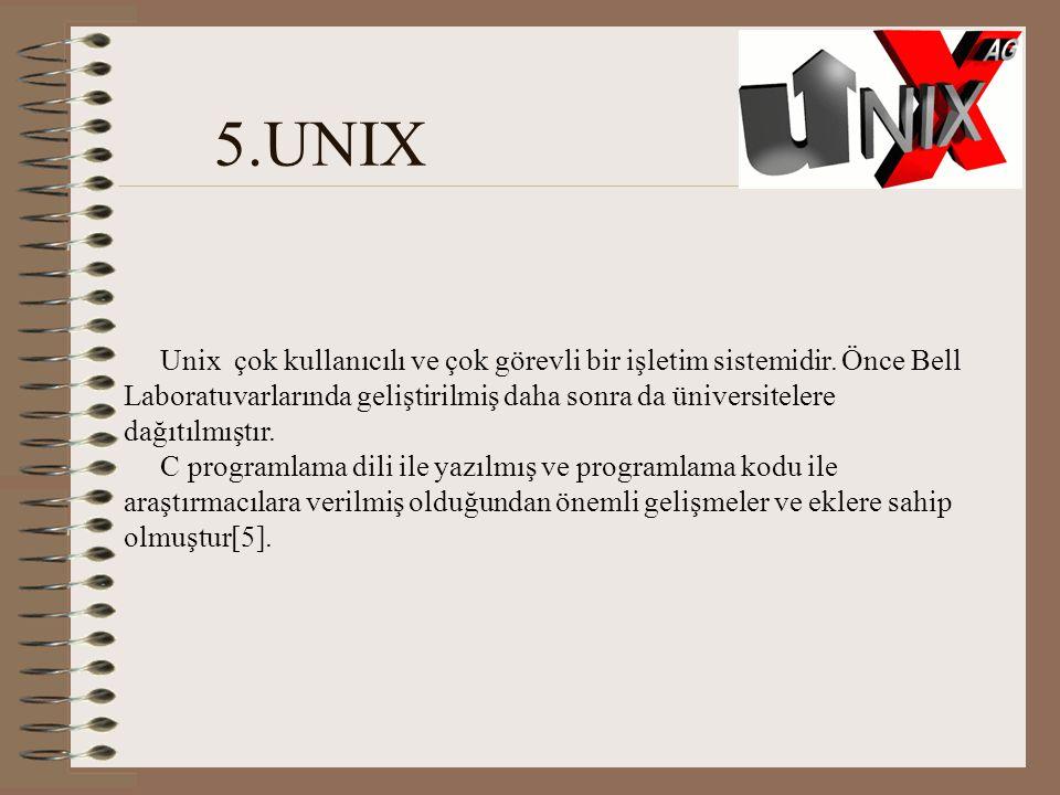 5.UNIX Unix çok kullanıcılı ve çok görevli bir işletim sistemidir.