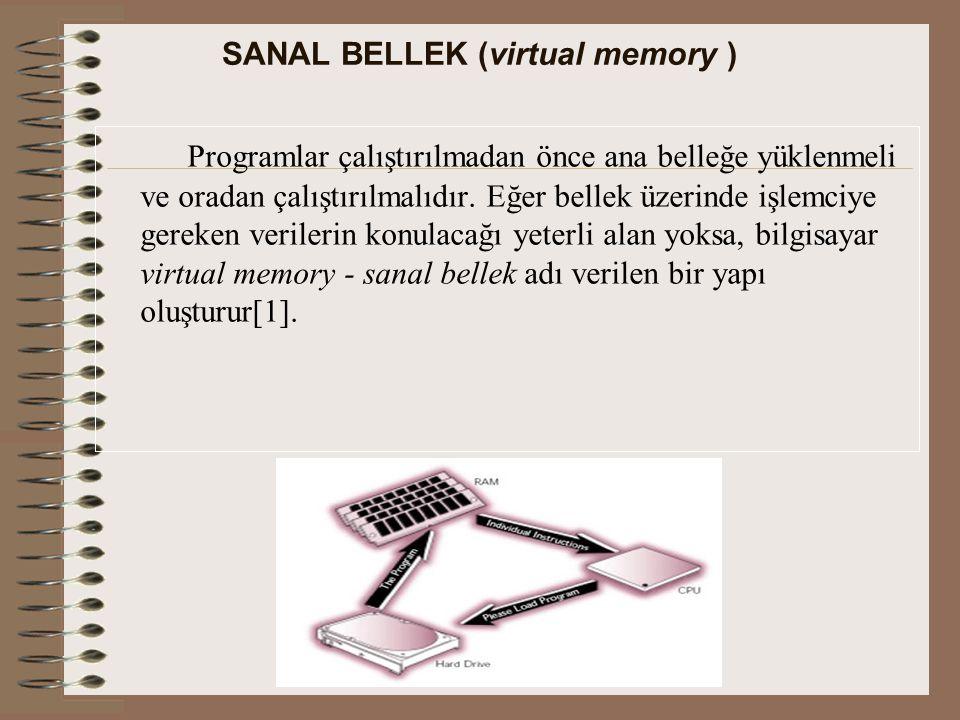 SANAL BELLEK (virtual memory ) Programlar çalıştırılmadan önce ana belleğe yüklenmeli ve oradan çalıştırılmalıdır.