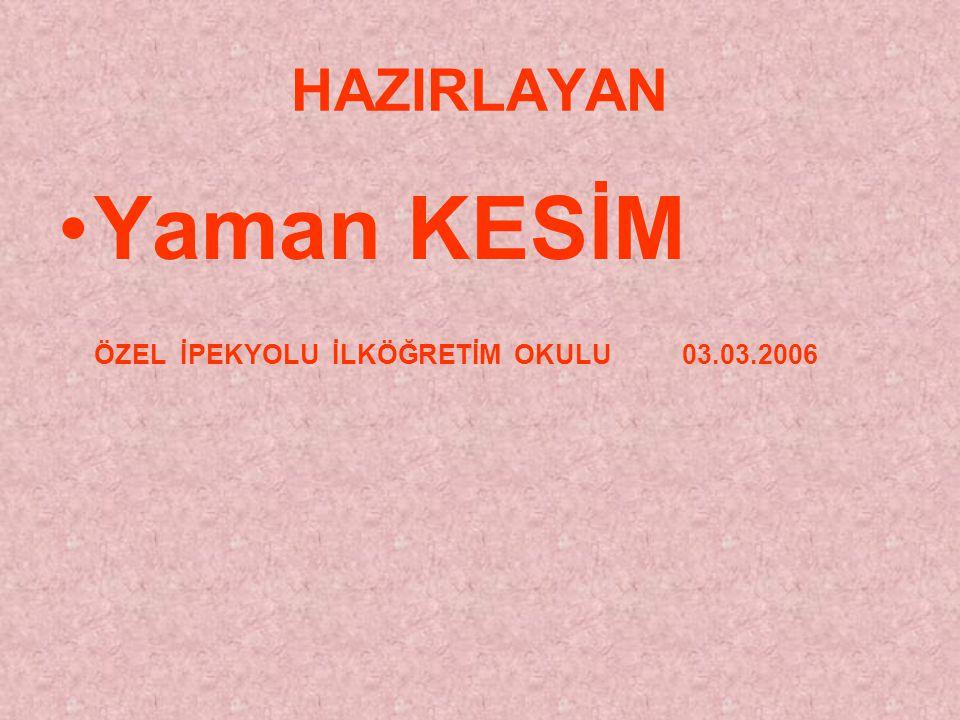 HAZIRLAYAN Yaman KESİM ÖZEL İPEKYOLU İLKÖĞRETİM OKULU 03.03.2006