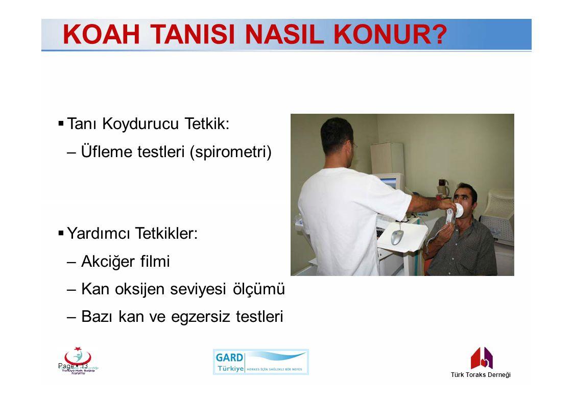 KOAH TANISI NASIL KONUR?  Tanı Koydurucu Tetkik: – Üfleme testleri (spirometri)  Yardımcı Tetkikler: –Akciğer filmi –Kan oksijen seviyesi ölçümü –Ba