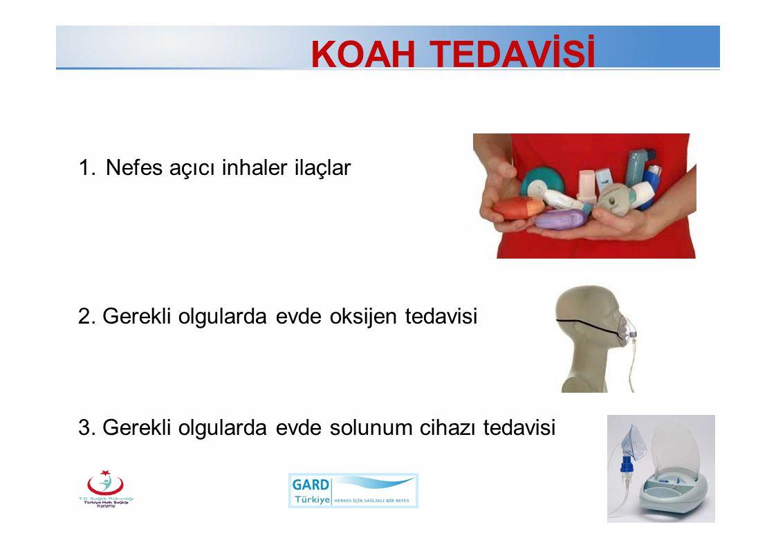 Page  16 Türk Toraks Derneği KOAH TEDAVİSİ 1.Nefes açıcı inhaler ilaçlar 2. Gerekli olgularda evde oksijen tedavisi 3. Gerekli olgularda evde solunum