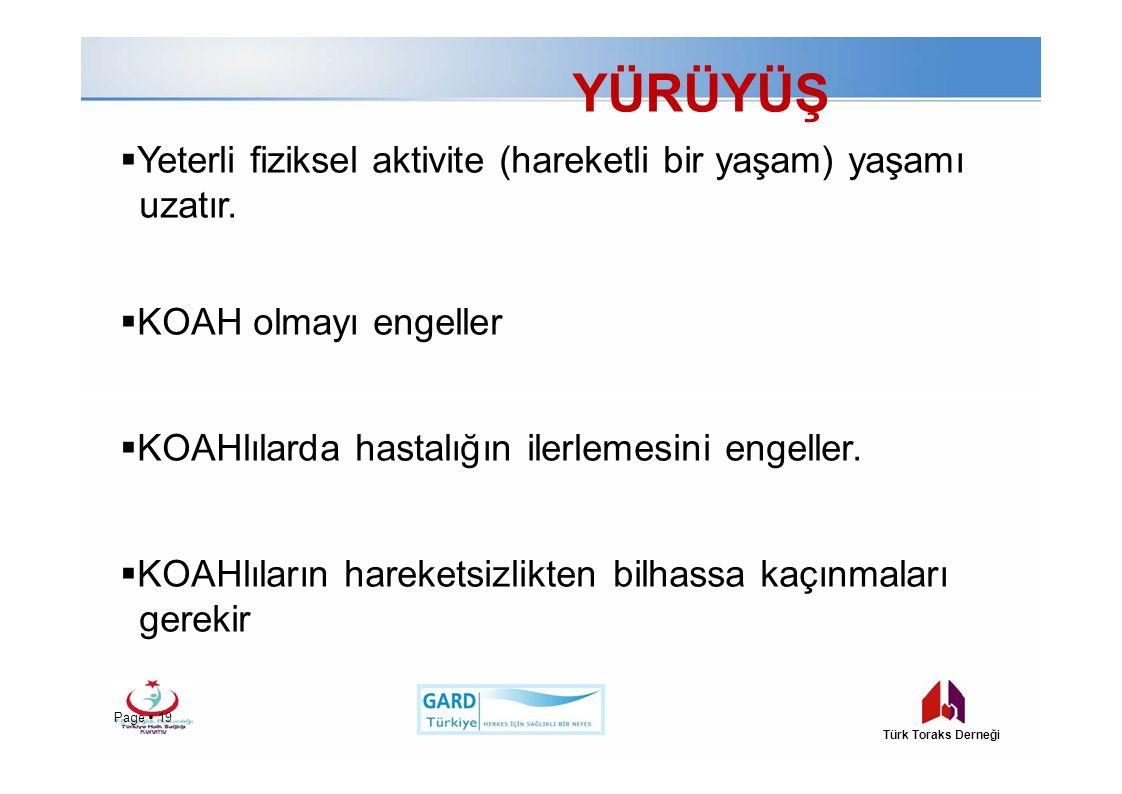 YÜRÜYÜŞ Page  19 Türk Toraks Derneği  Yeterli fiziksel aktivite (hareketli bir yaşam) yaşamı uzatır.  KOAH olmayı engeller  KOAHlılarda hastalığın