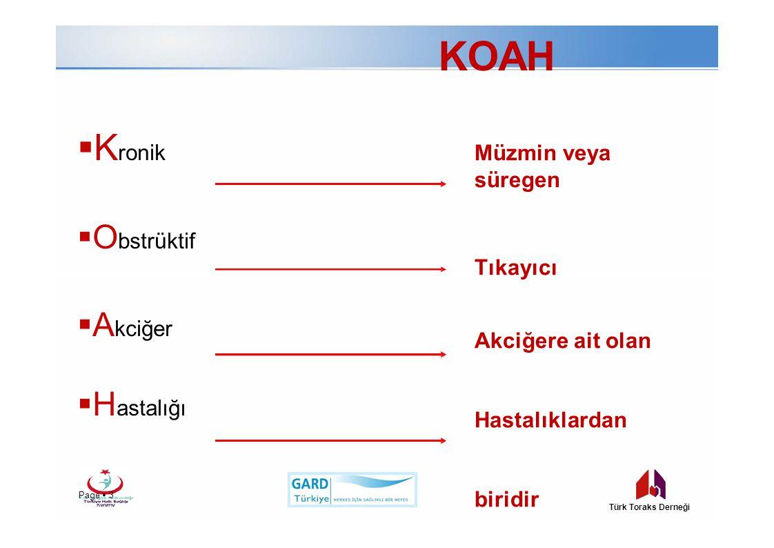 KOAH  K ronik  O bstrüktif  A kciğer  H astalığı Müzmin veya süregen Tıkayıcı Akciğere ait olan Hastalıklardan biridir Page  3Page  3 Türk Toraks Derneği