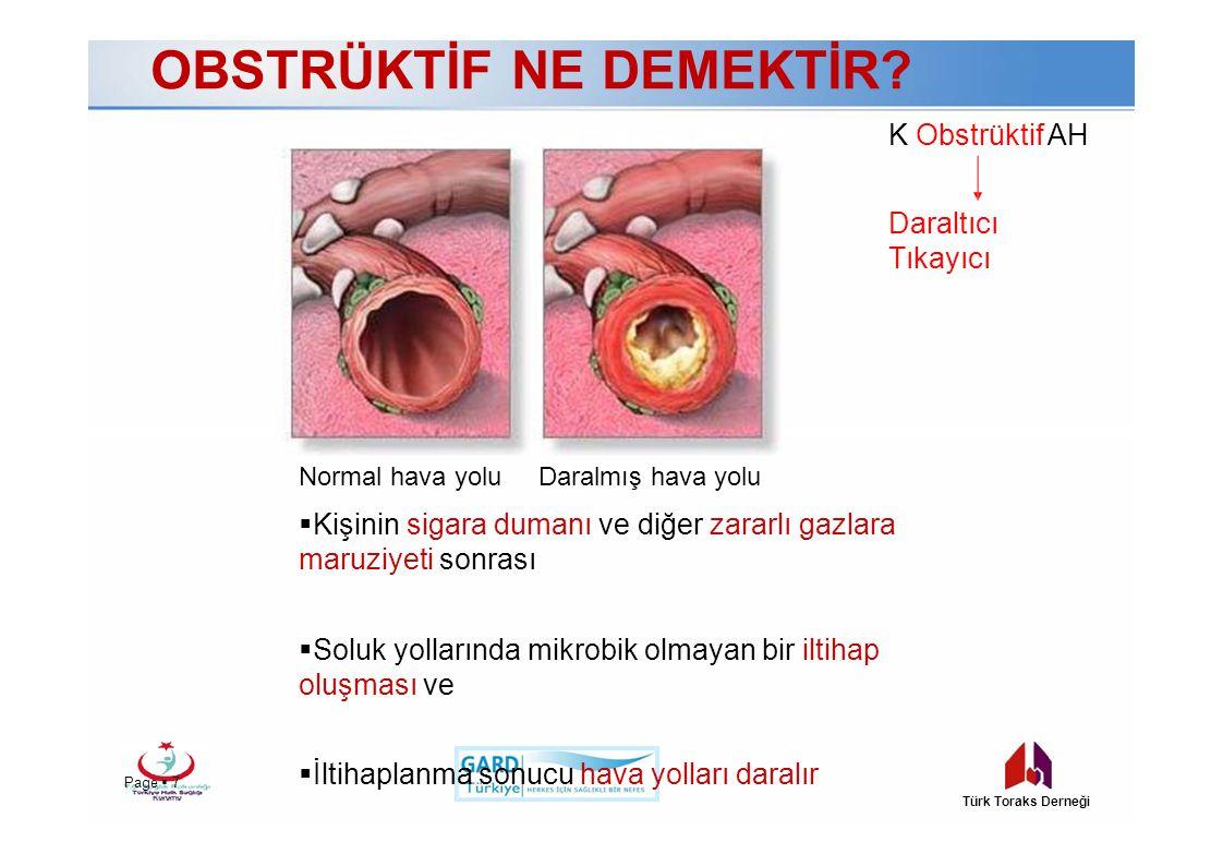 K Obstrüktif AH Daraltıcı Tıkayıcı Page  7Page  7 Türk Toraks Derneği Normal hava yoluDaralmış hava yolu  Kişinin sigara dumanı ve diğer zararlı ga
