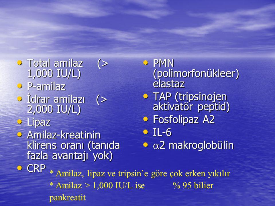 Total amilaz (> 1,000 IU/L) Total amilaz (> 1,000 IU/L) P-amilaz P-amilaz İdrar amilazı (> 2,000 IU/L) İdrar amilazı (> 2,000 IU/L) Lipaz Lipaz Amilaz