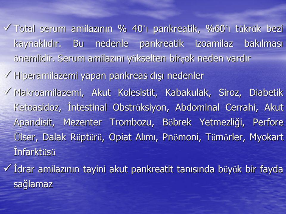 Total serum amilazının % 40 ' ı pankreatik, %60 ' ı t ü kr ü k bezi kaynaklıdır. Bu nedenle pankreatik izoamilaz bakılması ö nemlidir. Serum amilazını