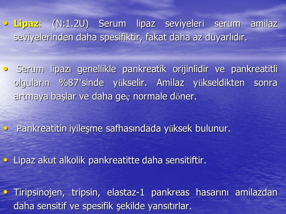 Lipaz: (N:1.2U) Serum lipaz seviyeleri serum amilaz seviyelerinden daha spesifiktir, fakat daha az duyarlıdır. Lipaz: (N:1.2U) Serum lipaz seviyeleri