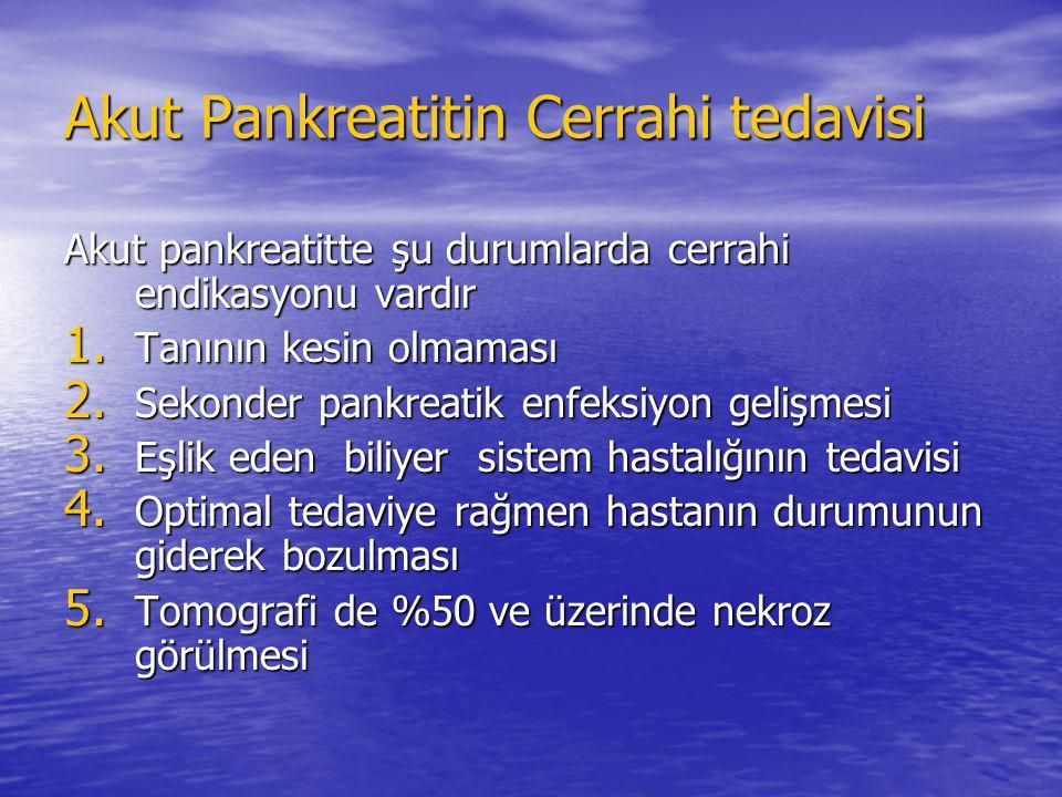 Akut pankreatitte şu durumlarda cerrahi endikasyonu vardır 1. Tanının kesin olmaması 2. Sekonder pankreatik enfeksiyon gelişmesi 3. Eşlik eden biliyer