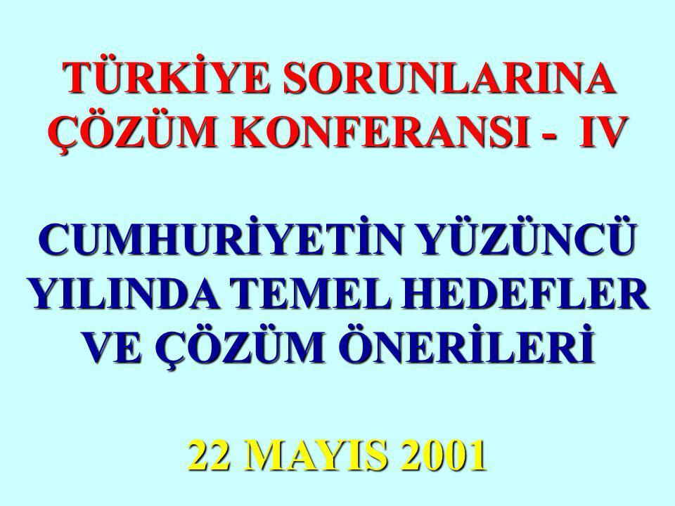 TÜRKİYE SORUNLARINA ÇÖZÜM KONFERANSI - IV CUMHURİYETİN YÜZÜNCÜ YILINDA TEMEL HEDEFLER VE ÇÖZÜM ÖNERİLERİ 22 MAYIS 2001