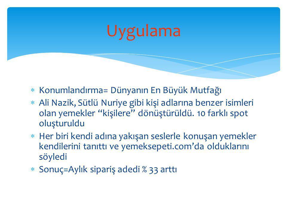  Konumlandırma= Dünyanın En Büyük Mutfağı  Ali Nazik, Sütlü Nuriye gibi kişi adlarına benzer isimleri olan yemekler kişilere dönüştürüldü.