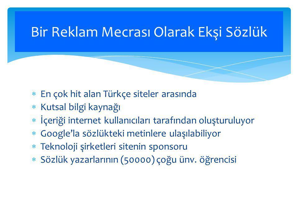  En çok hit alan Türkçe siteler arasında  Kutsal bilgi kaynağı  İçeriği internet kullanıcıları tarafından oluşturuluyor  Google'la sözlükteki metinlere ulaşılabiliyor  Teknoloji şirketleri sitenin sponsoru  Sözlük yazarlarının (50000) çoğu ünv.