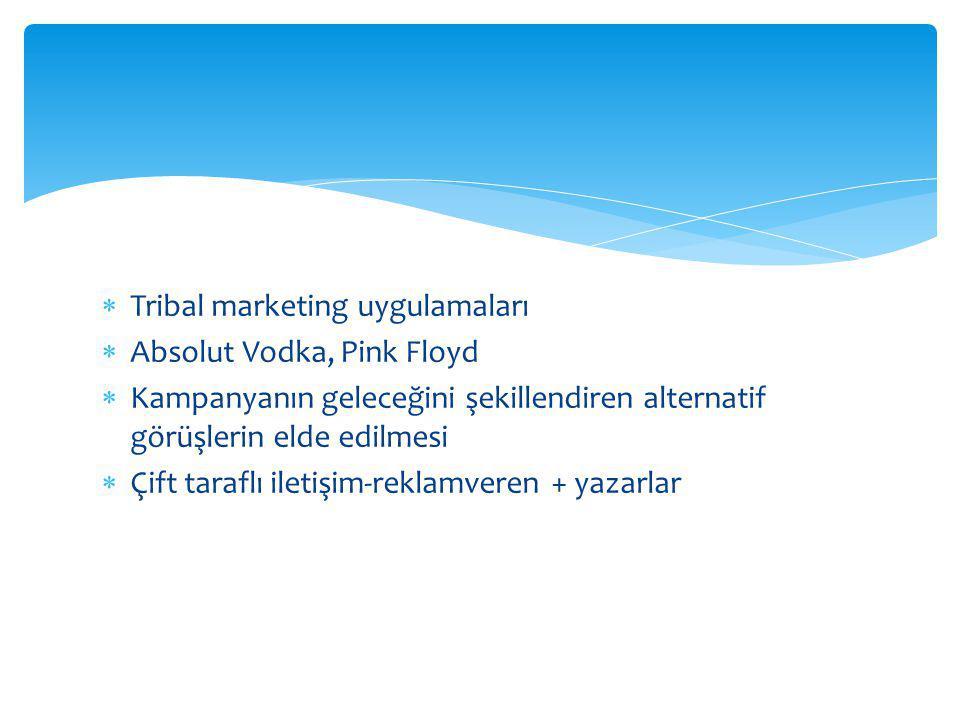  Tribal marketing uygulamaları  Absolut Vodka, Pink Floyd  Kampanyanın geleceğini şekillendiren alternatif görüşlerin elde edilmesi  Çift taraflı iletişim-reklamveren + yazarlar