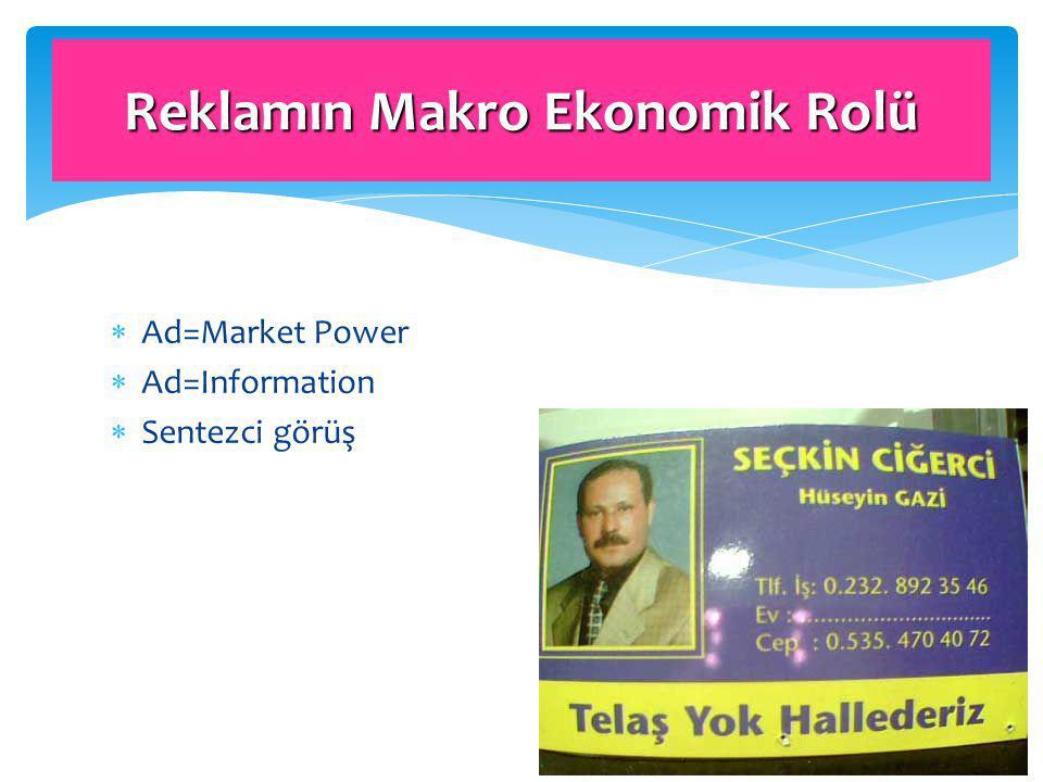  Ad=Market Power  Ad=Information  Sentezci görüş Reklamın Makro Ekonomik Rolü