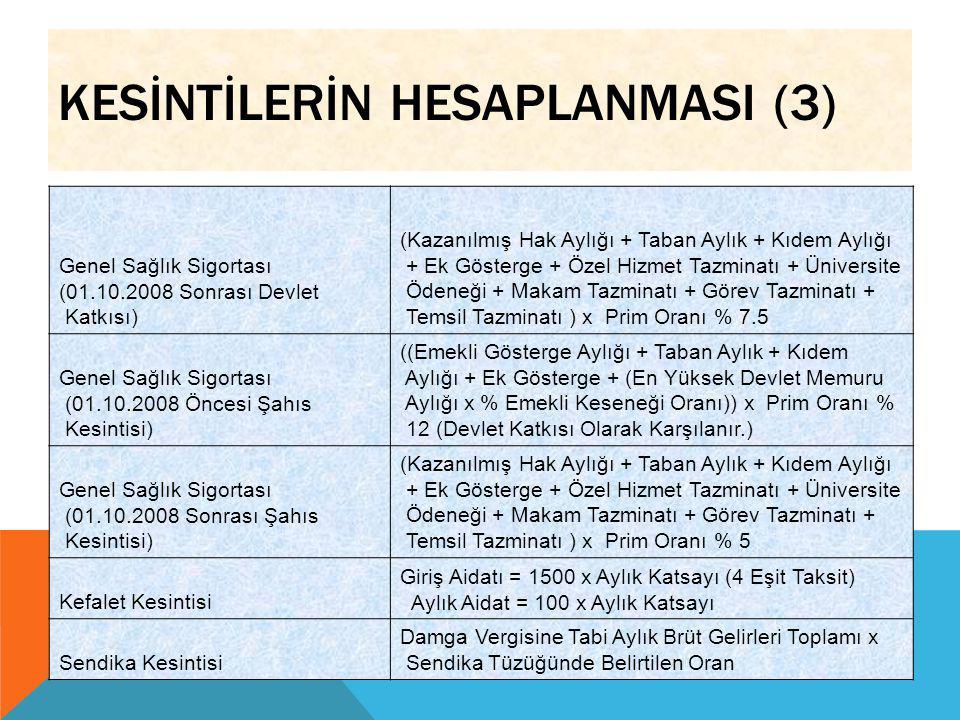 KESİNTİLERİN HESAPLANMASI (3) Genel Sağlık Sigortası (01.10.2008 Sonrası Devlet Katkısı) (Kazanılmış Hak Aylığı + Taban Aylık + Kıdem Aylığı + Ek Göst
