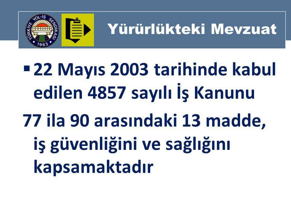 Yürürlükteki Mevzuat  22 Mayıs 2003 tarihinde kabul edilen 4857 sayılı İş Kanunu 77 ila 90 arasındaki 13 madde, iş güvenliğini ve sağlığını kapsamaktadır