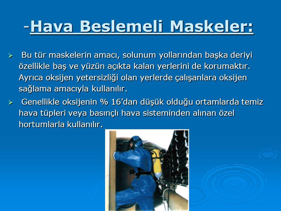 -Hava Beslemeli Maskeler:  Bu tür maskelerin amacı, solunum yollarından başka deriyi özellikle baş ve yüzün açıkta kalan yerlerini de korumaktır. Ayr