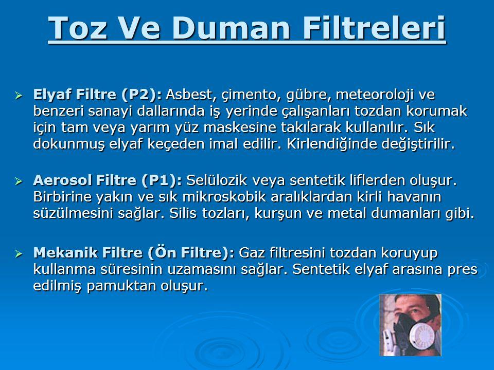 Toz Ve Duman Filtreleri  Elyaf Filtre (P2): Asbest, çimento, gübre, meteoroloji ve benzeri sanayi dallarında iş yerinde çalışanları tozdan korumak iç