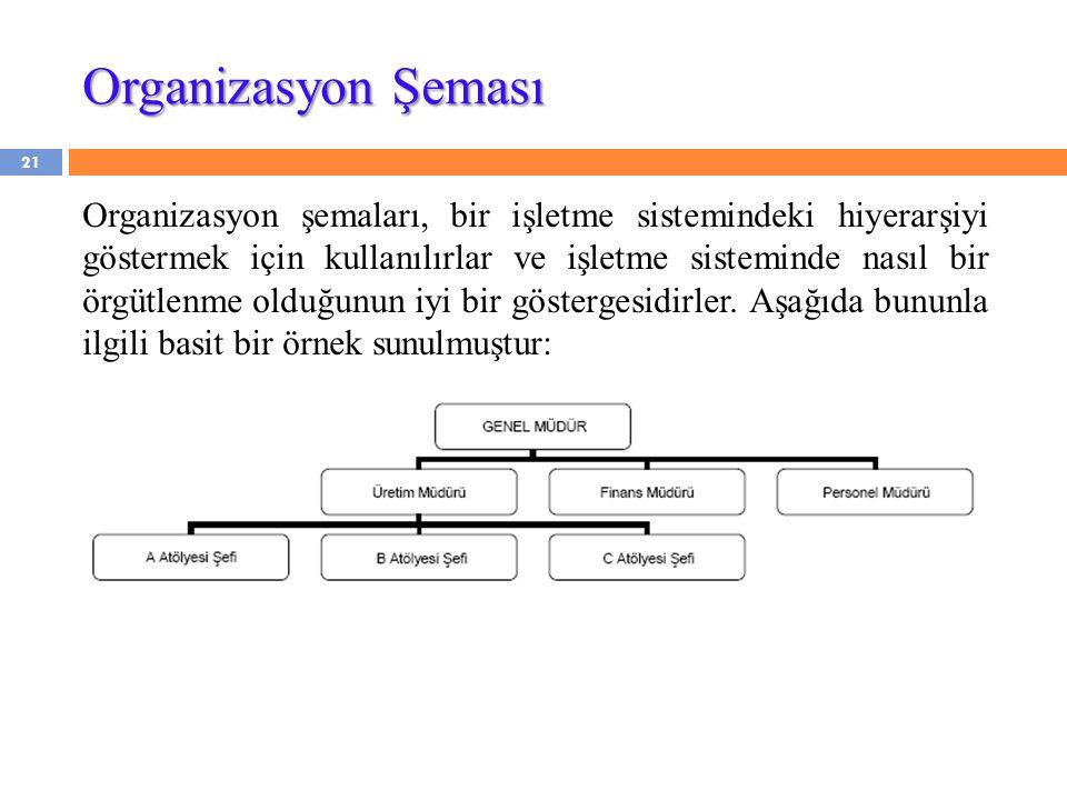 21 Organizasyon şemaları, bir işletme sistemindeki hiyerarşiyi göstermek için kullanılırlar ve işletme sisteminde nasıl bir örgütlenme olduğunun iyi bir göstergesidirler.