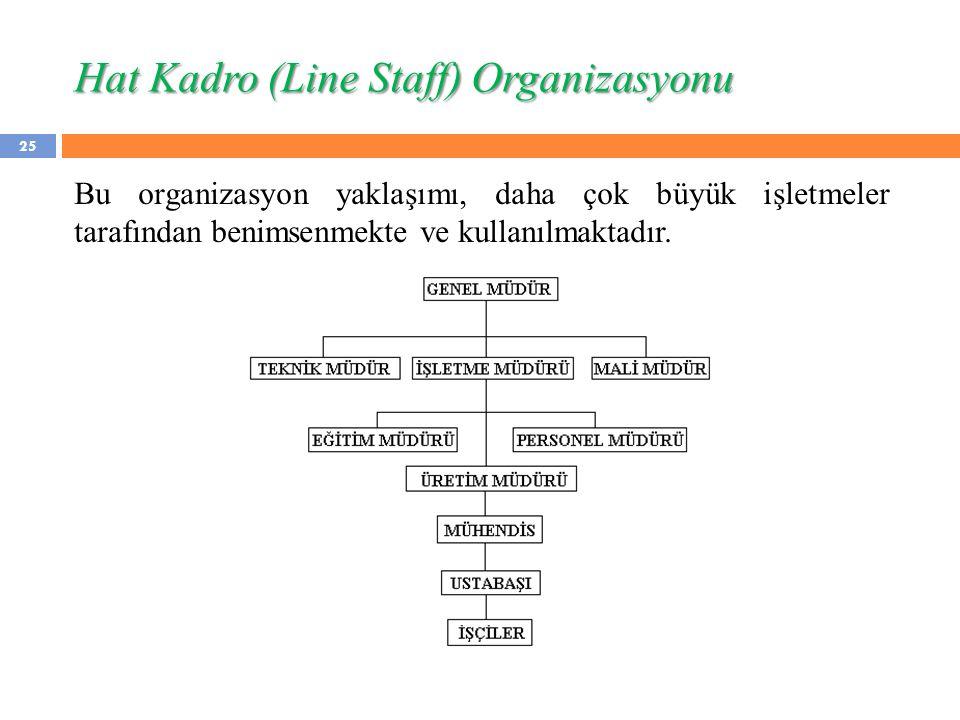 25 Bu organizasyon yaklaşımı, daha çok büyük işletmeler tarafından benimsenmekte ve kullanılmaktadır. Hat Kadro (Line Staff) Organizasyonu