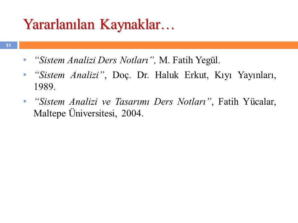 """Yararlanılan Kaynaklar… """"Sistem Analizi Ders Notları"""", M. Fatih Yegül. """"Sistem Analizi"""", Doç. Dr. Haluk Erkut, Kıyı Yayınları, 1989. """"Sistem Analizi v"""