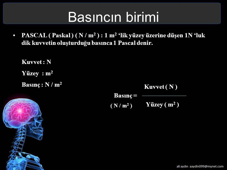 Basıncın birimi PASCAL ( Paskal ) ( N / m 2 ) : 1 m 2 'lik yüzey üzerine düşen 1N 'luk dik kuvvetin oluşturduğu basınca 1 Pascal denir. Kuvvet : N Yüz