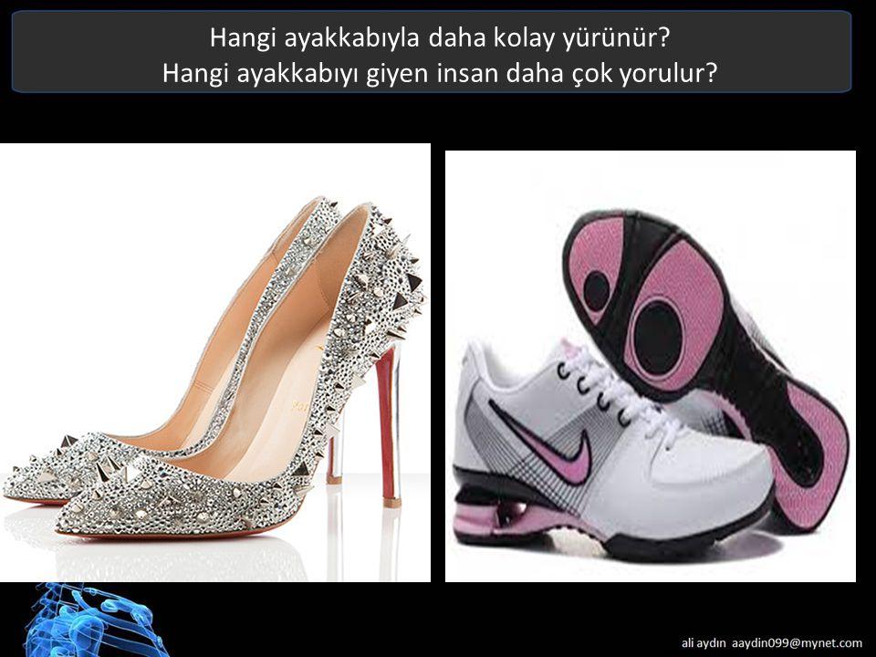 Hangi ayakkabıyla daha kolay yürünür? Hangi ayakkabıyı giyen insan daha çok yorulur? Text