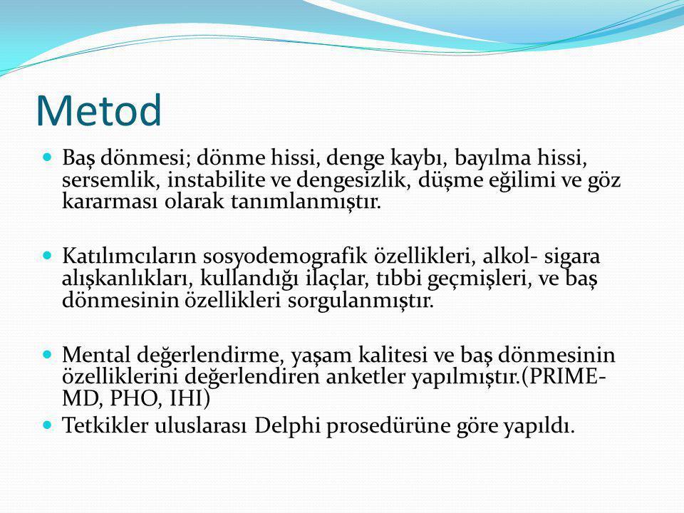 Metod Kardiovasküler değerlendirme; nabız, kan basıncı ölçümü, ortostotik hipotansiyon testi, oskültasyon yapılmıştır.
