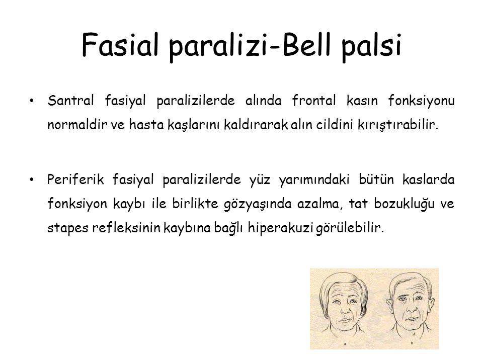 Fasial paralizi-Bell palsi Santral fasiyal paralizilerde alında frontal kasın fonksiyonu normaldir ve hasta kaşlarını kaldırarak alın cildini kırıştır