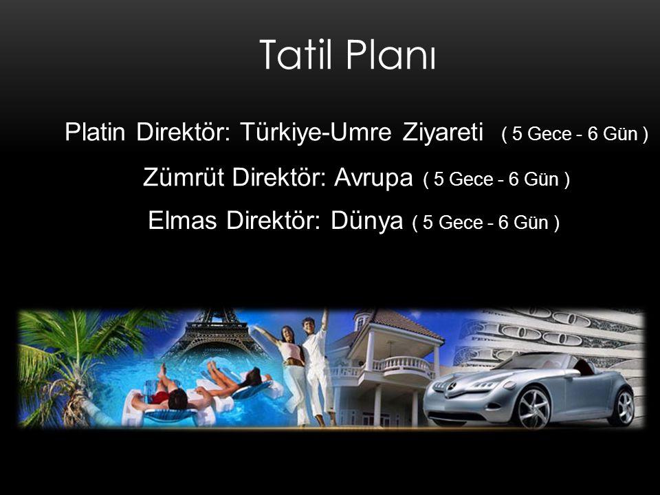 Tatil Planı Zümrüt Direktör: Avrupa ( 5 Gece - 6 Gün ) Elmas Direktör: Dünya ( 5 Gece - 6 Gün ) Platin Direktör: Türkiye-Umre Ziyareti ( 5 Gece - 6 Gün )