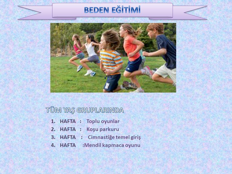 1. HAFTA : Toplu oyunlar 2. HAFTA : Koşu parkuru 3. HAFTA : Cimnastiğe temel giriş 4. HAFTA :Mendil kapmaca oyunu