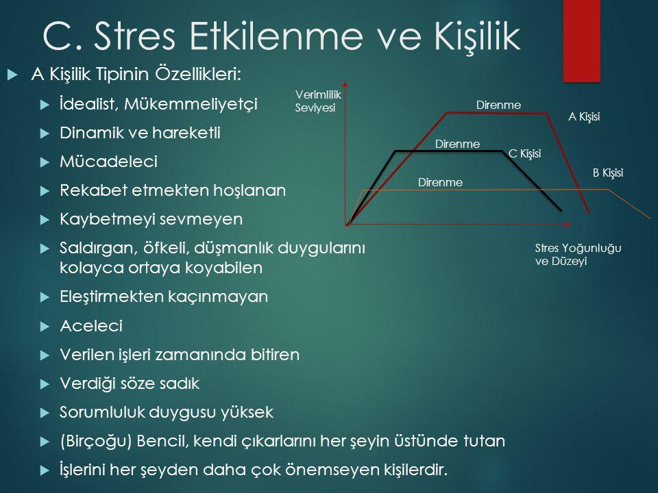 C. Stres Etkilenme ve Kişilik  A Kişilik Tipinin Özellikleri:  İdealist, Mükemmeliyetçi  Dinamik ve hareketli  Mücadeleci  Rekabet etmekten hoşla