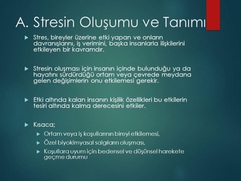 A. Stresin Oluşumu ve Tanımı  Stres, bireyler üzerine etki yapan ve onların davranışlarını, iş verimini, başka insanlarla ilişkilerini etkileyen bir
