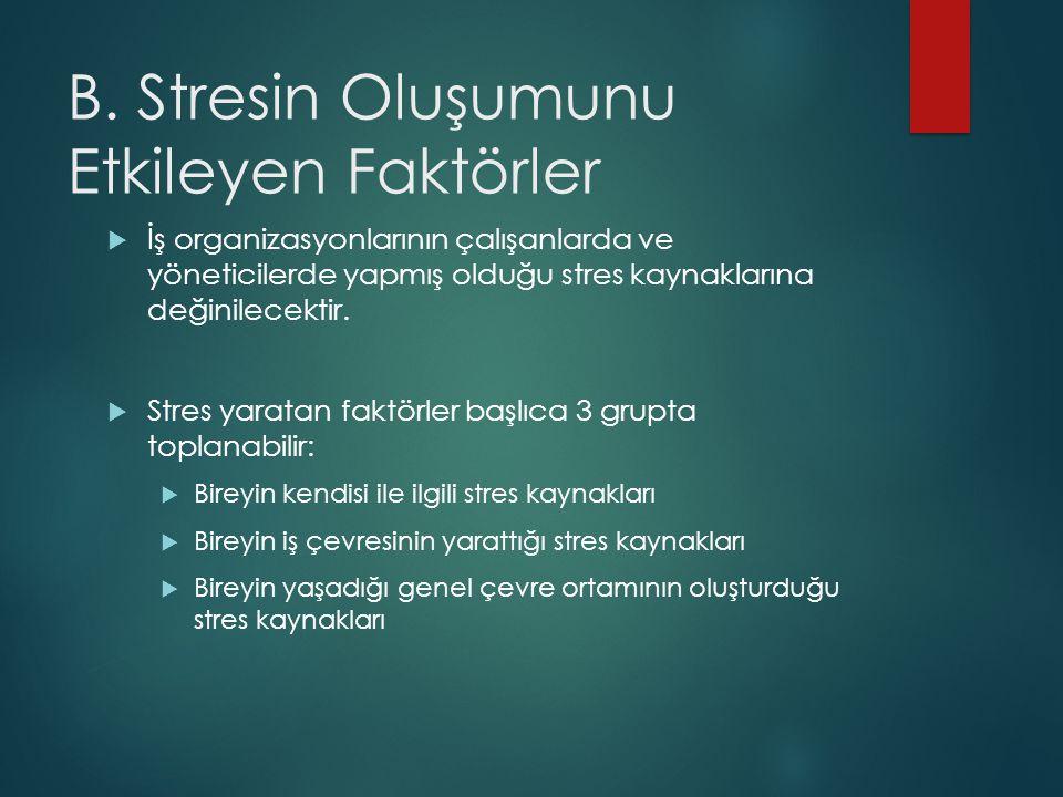 B. Stresin Oluşumunu Etkileyen Faktörler  İş organizasyonlarının çalışanlarda ve yöneticilerde yapmış olduğu stres kaynaklarına değinilecektir.  Str