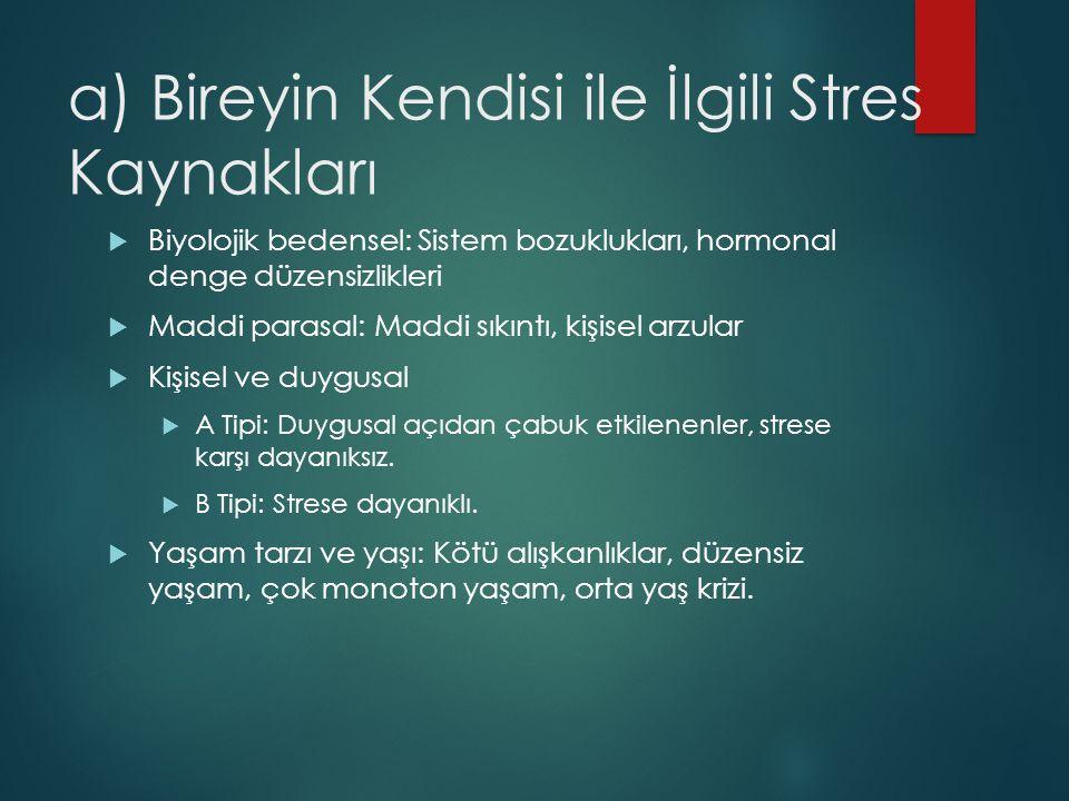 a) Bireyin Kendisi ile İlgili Stres Kaynakları  Biyolojik bedensel: Sistem bozuklukları, hormonal denge düzensizlikleri  Maddi parasal: Maddi sıkınt