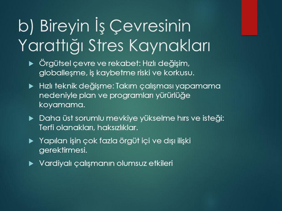 c) Genel Çevre Ortamının Stres Kaynakları  Ülke ve Dünya ekonomisinin gidişatı ve belirsizlikleri.