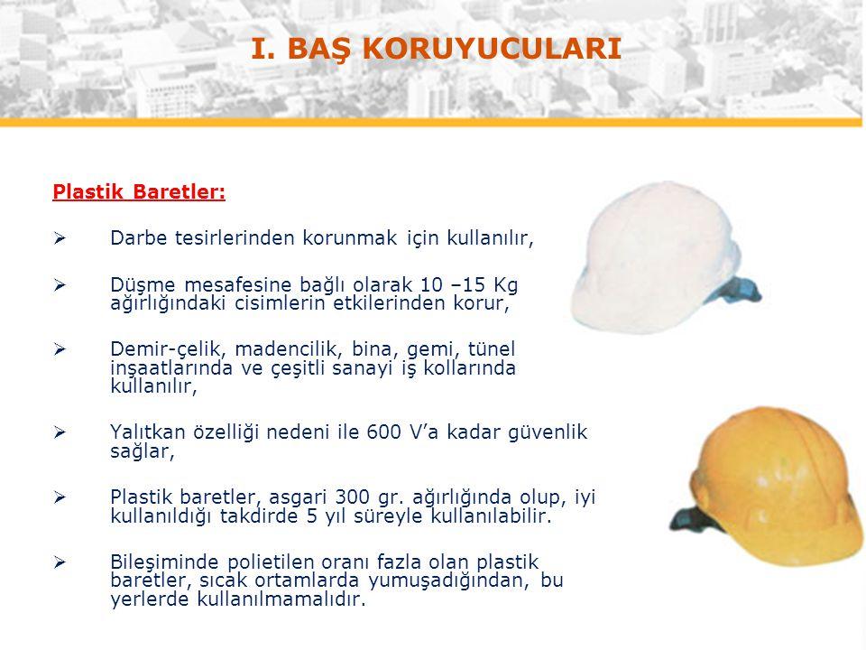 Plastik Baretler:  Darbe tesirlerinden korunmak için kullanılır,  Düşme mesafesine bağlı olarak 10 –15 Kg ağırlığındaki cisimlerin etkilerinden koru