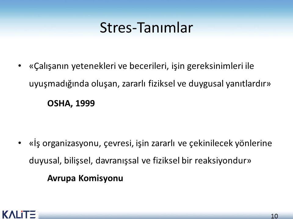 10 Stres-Tanımlar «Çalışanın yetenekleri ve becerileri, işin gereksinimleri ile uyuşmadığında oluşan, zararlı fiziksel ve duygusal yanıtlardır» OSHA,