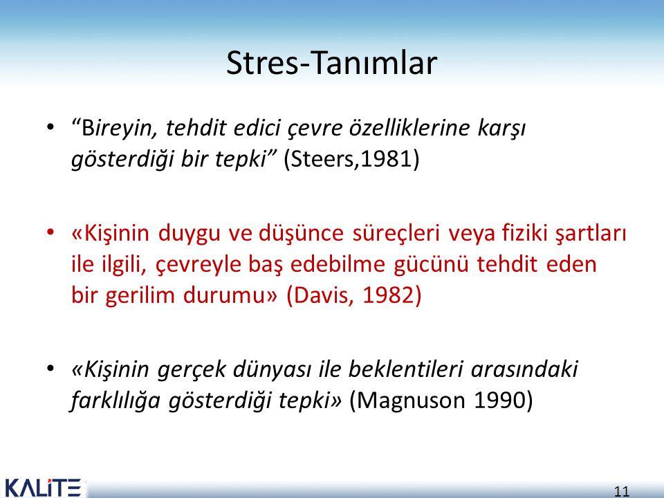 """11 Stres-Tanımlar """"Bireyin, tehdit edici çevre özelliklerine karşı gösterdiği bir tepki"""" (Steers,1981) «Kişinin duygu ve düşünce süreçleri veya fiziki"""