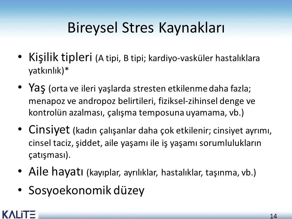 14 Bireysel Stres Kaynakları Kişilik tipleri (A tipi, B tipi; kardiyo-vasküler hastalıklara yatkınlık)* Yaş (orta ve ileri yaşlarda stresten etkilenme