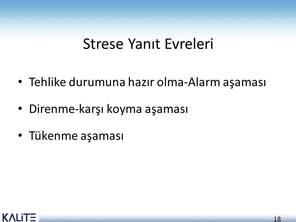 18 Strese Yanıt Evreleri Tehlike durumuna hazır olma-Alarm aşaması Direnme-karşı koyma aşaması Tükenme aşaması