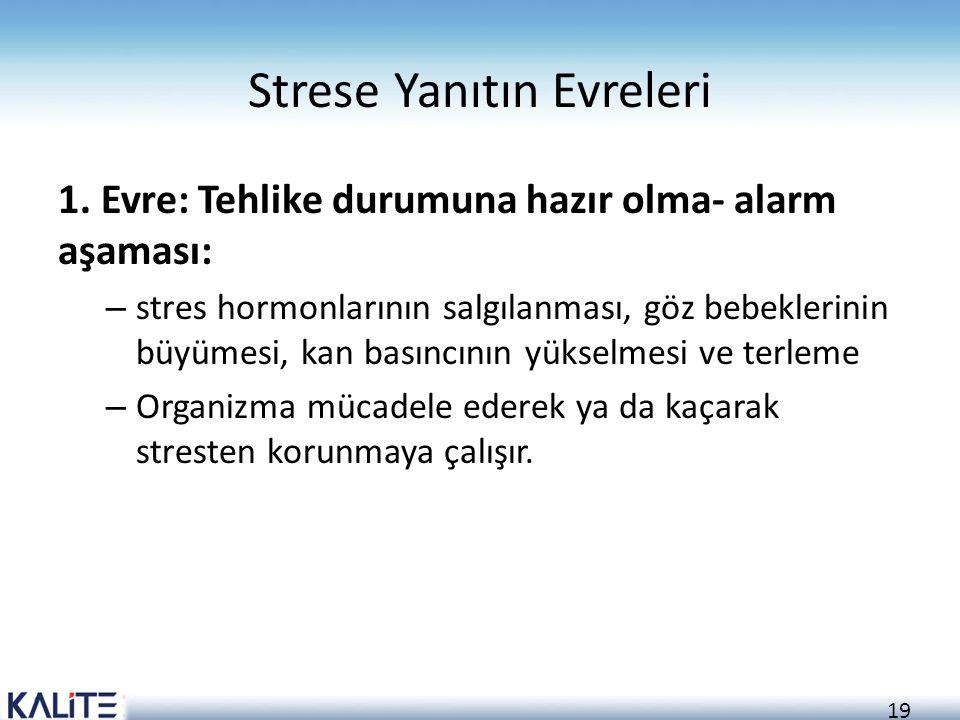 19 Strese Yanıtın Evreleri 1. Evre: Tehlike durumuna hazır olma- alarm aşaması: – stres hormonlarının salgılanması, göz bebeklerinin büyümesi, kan bas