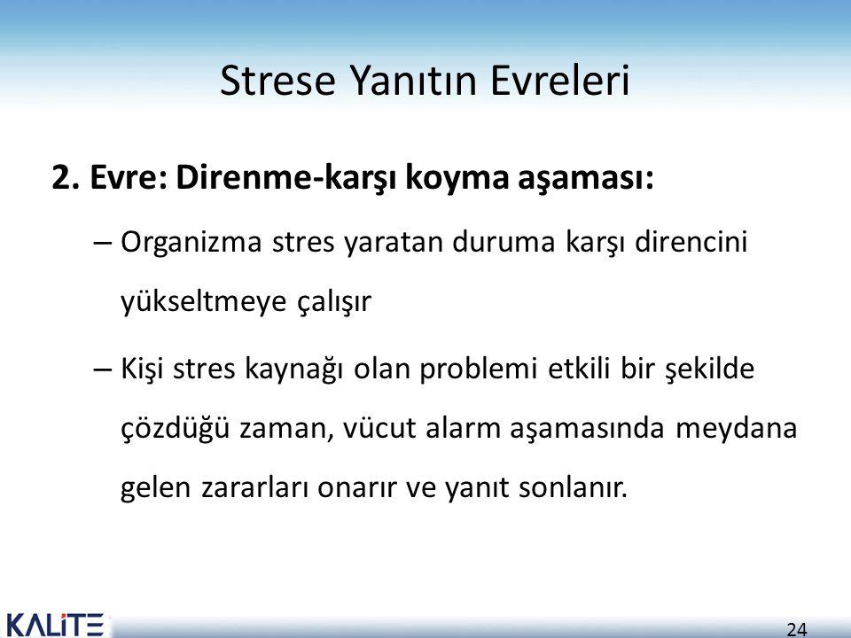 24 Strese Yanıtın Evreleri 2. Evre: Direnme-karşı koyma aşaması: – Organizma stres yaratan duruma karşı direncini yükseltmeye çalışır – Kişi stres kay