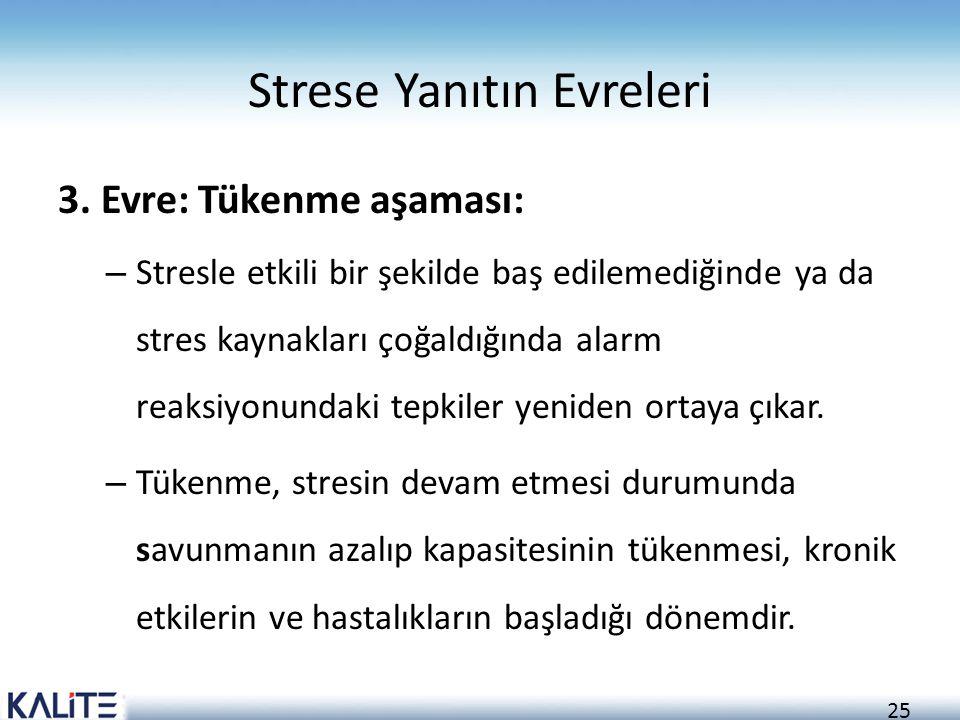 25 Strese Yanıtın Evreleri 3. Evre: Tükenme aşaması: – Stresle etkili bir şekilde baş edilemediğinde ya da stres kaynakları çoğaldığında alarm reaksiy