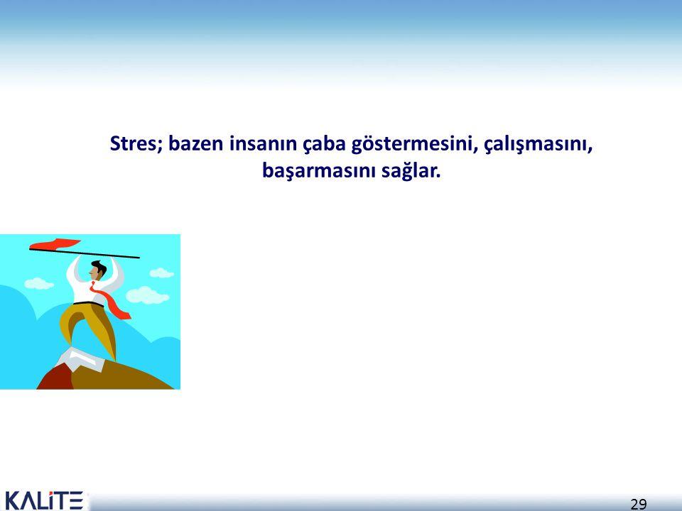 29 Stres; bazen insanın çaba göstermesini, çalışmasını, başarmasını sağlar.