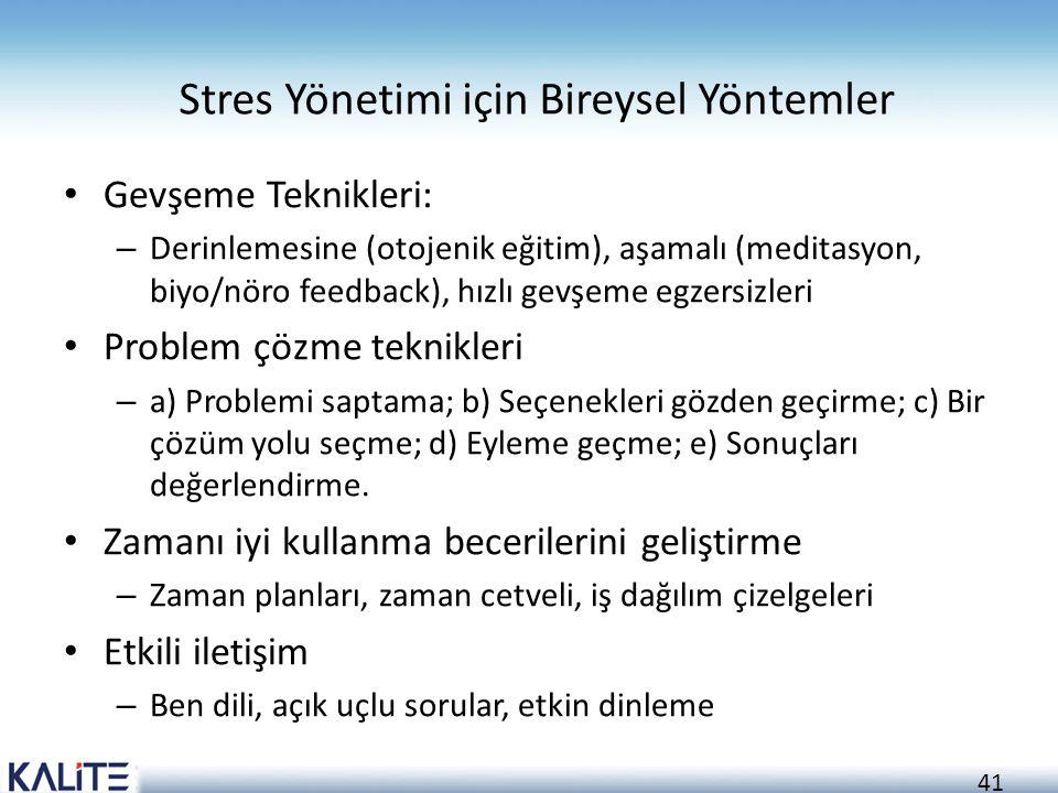 41 Stres Yönetimi için Bireysel Yöntemler Gevşeme Teknikleri: – Derinlemesine (otojenik eğitim), aşamalı (meditasyon, biyo/nöro feedback), hızlı gevşe
