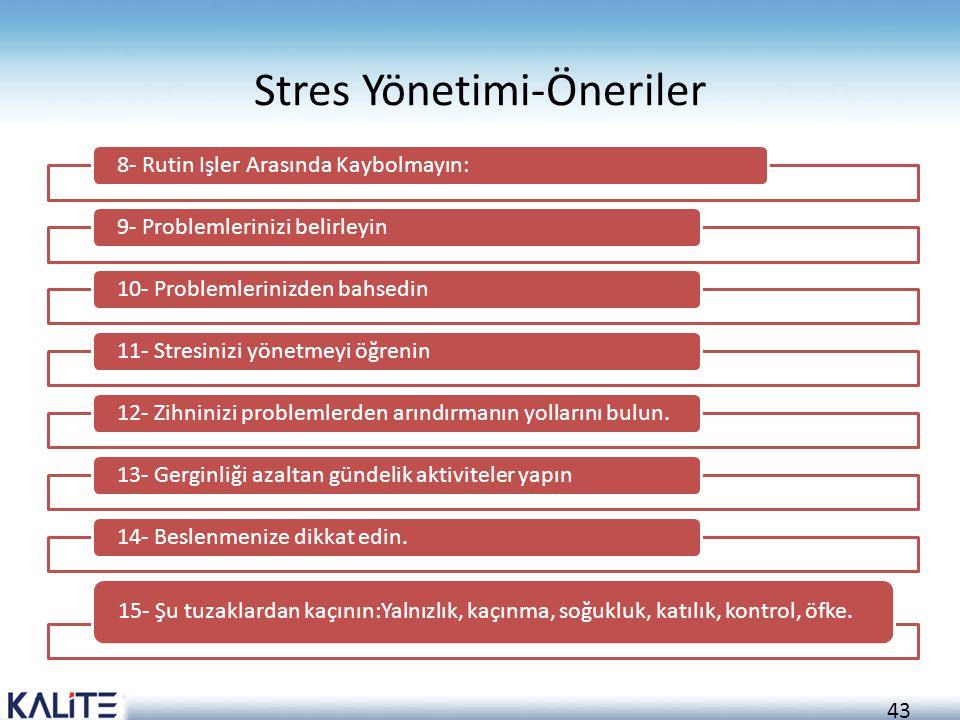 43 Stres Yönetimi-Öneriler 8- Rutin Işler Arasında Kaybolmayın:9- Problemlerinizi belirleyin10- Problemlerinizden bahsedin11- Stresinizi yönetmeyi öğr
