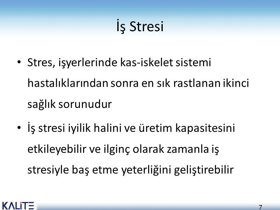 7 İş Stresi Stres, işyerlerinde kas-iskelet sistemi hastalıklarından sonra en sık rastlanan ikinci sağlık sorunudur İş stresi iyilik halini ve üretim