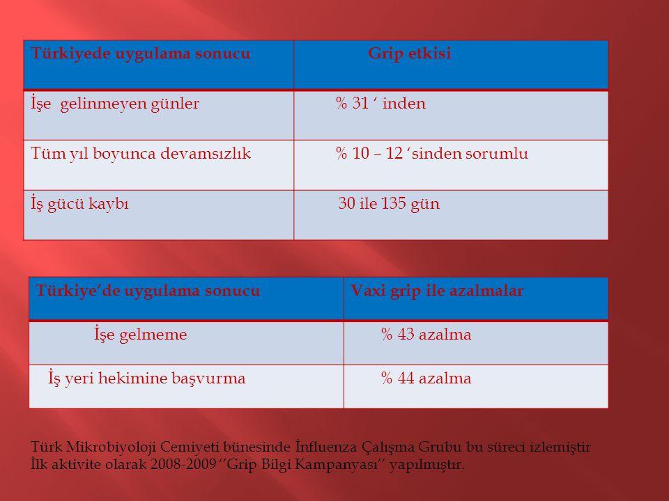 Türkiye'de uygulama sonucuVaxi grip ile azalmalar İşe gelmeme % 43 azalma İş yeri hekimine başvurma % 44 azalma Türk Mikrobiyoloji Cemiyeti bünesinde İnfluenza Çalışma Grubu bu süreci izlemiştir İlk aktivite olarak 2008-2009 ''Grip Bilgi Kampanyası'' yapılmıştır.
