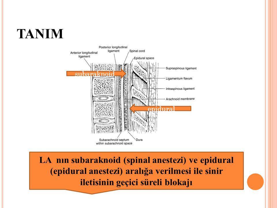 TANIM subaraknoid epidural LA nın subaraknoid (spinal anestezi) ve epidural (epidural anestezi) aralığa verilmesi ile sinir iletisinin geçici süreli b